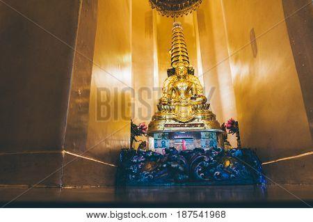 Golden Buddha In Lotus Pose In The Golden Mountain Temple Bangkok