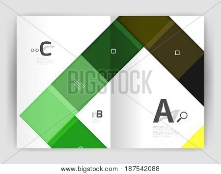 Business a4 business brochure geometrical template. design for workflow layout, diagram, number options or web design