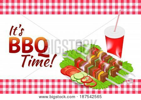 Barbecue party horizontal banner. Grill summer food. Picnic cooking device. Flat isometric illustration. Family weekend. BBQ is both a cooking method and an apparatus
