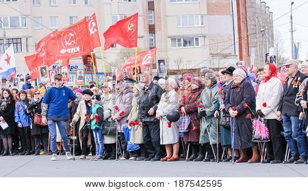Kirishi, Russia - 9 May, Elderly people at a rally, 9 May, 2017. Holding a festive rally dedicated to the Victory Day.