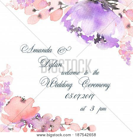 Watercolor background with flowers and floral elements. Can be used for mothers day valentines day birthday cards wedding invitations.