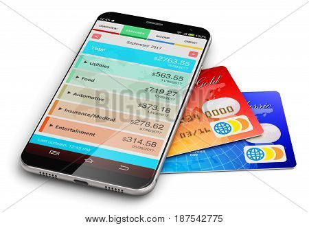 3D render illustration of modern black glossy touchscreen smartphone with finance manager software app or application and color plastic bank credit cards