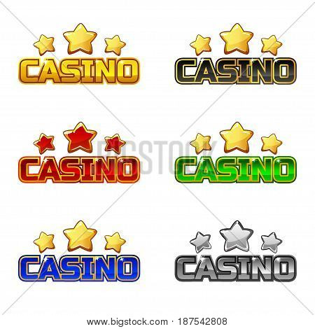 Colored logo text casino and star, vector icon For Ui Game element