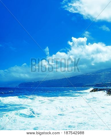 Beautiful View Of Perfect Blue Sky And Water Of Ocean