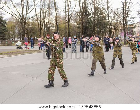 Kirishi, Russia - 9 May, Elements of hand-to-hand combat, 9 May, 2017. Holiday demonstration speeches of special forces soldiers in honor of Victory Day.