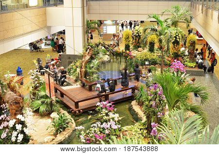 SINGAPORE- MAY 18 2017: Interior of Changi Airport. Singapore. Changi Airport is the primary civilian airport for Singapore and one of the largest transportation hubs in Southeast Asia