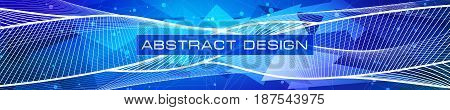 Vector design abstract technology background panoramic. White lines and points, blue-purple triangles debris wallpaper, low polygon shapes