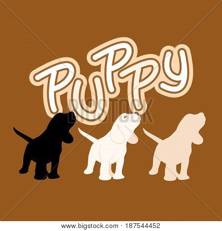 puppy  vector illustration style Flat black silhouette set