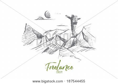 Vector hand drawn Freelance concept sketch. Man tourist with backpack standing at the top of hill and enjoying nature and sun