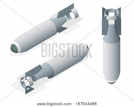 Isometric Aerial Bomb on a white isolated background.