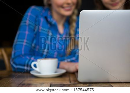 Cropped image of female friends using laptop in coffee shop