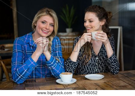 Portrait of smiling young woman with friend having coffee in cafe