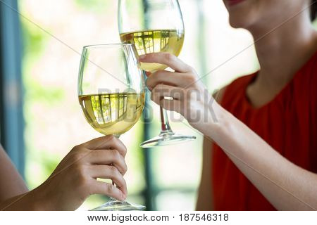 Cropped image of women toasting wine glasses in restaurant