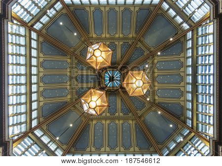 LONDON, UK, 19TH NOVEMBER 2016 - Ceiling detail in Leadenhall market covered shopping arcade dating back to the 14th Century in the city of London