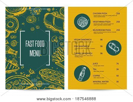Restaurant menu with food pencil doodles. Cafe bar price catalog, junk food card with snack linear sketches. Fast food vector template with hand drawn pizza, hot dog, chicken, drink graphic