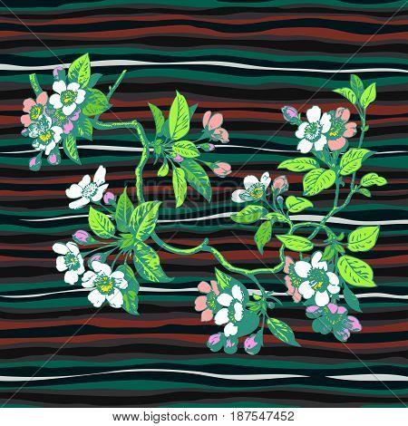 Hand drawn branch flower roses sakura vintage print on stripes waves pattern grunge retro background vector illustration design for fashion shirt textile greeting card invitation wedding
