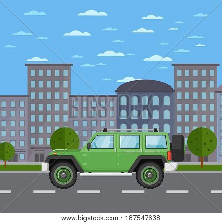 Modern off road car in urban landscape. SUV car, 4x4 auto vehicle, automobile service, people transportation. City street road traffic vector illustration, cityscape background with skyscrapers.