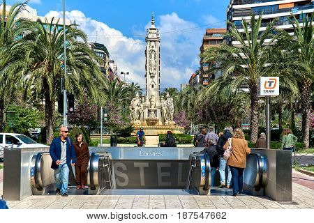 Alicante Spain- April 6 2017: View to the underground tram entrance at Luceros square. This is one of the most emblematic squares in Alicante. Located right in the heart of the city centre. Costa Blanca. Spain