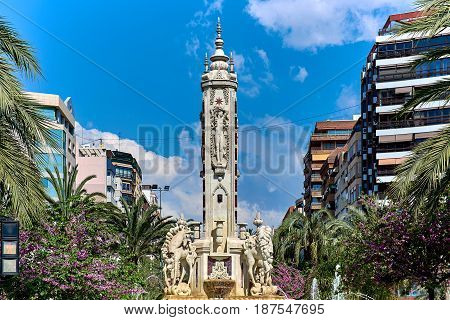 Luceros square. This is one of the most emblematic squares in Alicante. Located right in the heart of the city centre. Costa Blanca. Spain