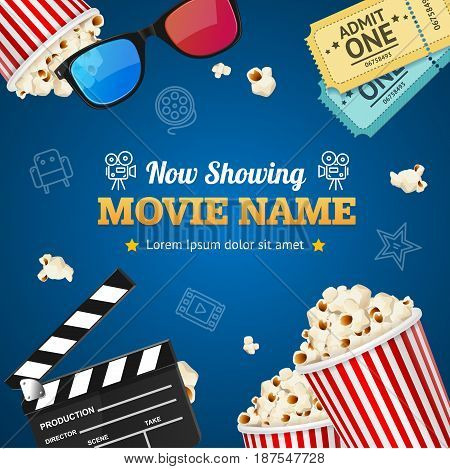 Cinema Background Movie Name on a Blue Presentation Premiere Film for Poster or Placard. Vector illustration