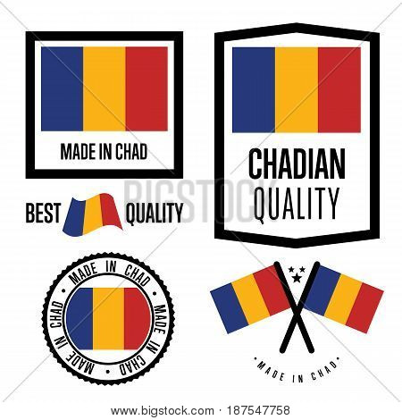 Chad quality isolated label set for goods. Exporting stamp with chadian flag, nation manufacturer certificate element, country product vector emblem. Made in Chad badge collection.