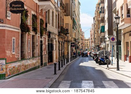 Alicante Spain - May 16; 2017: Street of Alicante city center. Alicante is a main resort city on the Costa Blanca. Spain