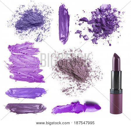 Set of lilac cosmetic on white background