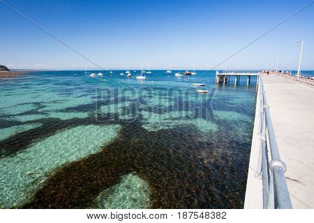 Flinders back beach and pier on a hot summer's afternoon in the Mornington Peninsula, Victoria, Australia