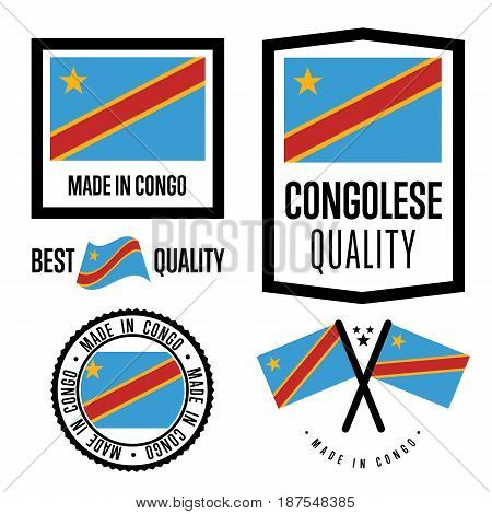 Congo quality isolated label set for goods. Exporting stamp with congolese flag, nation manufacturer certificate element, country product vector emblem. Made in Congo badge collection.