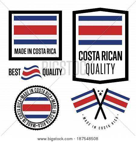 Costa Rica quality isolated label set for goods. Exporting stamp with nation flag, manufacturer certificate element, country product vector emblem. Made in Costa Rica badge collection.