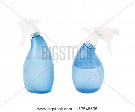 Blue plastic pulverizer spray isolated over the white background, set of two different foreshortenings