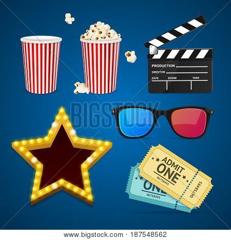 Cinema Icon Realistic Objects Set Light Bulbs Vintage Neon Glow Star, Glasses, Clapperboard, Popcorn and Ticket. Vector illustration
