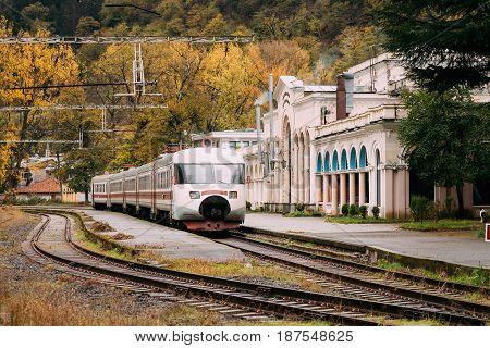 Borjomi, Samtskhe-Javakheti, Georgia. Suburban Electric Train Near Borjomi Parki Railway Station In Autumn Day