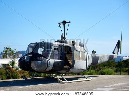 Benidorm Spain - May 13 2017: Old american helicopter in the heliport of Benidorm. Costa Blanca. Province of Alicante. Spain