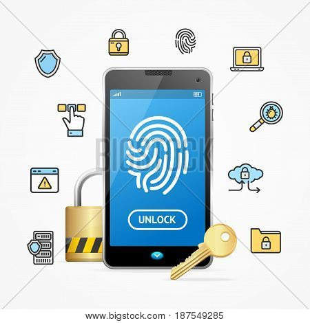 Data Security and Safe Concept Mobile Phone App Elements Design Web for Business Scan Fingerprint. Vector illustration
