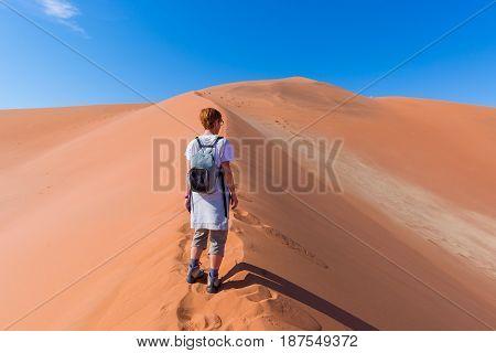 Tourist Walking On The Scenic Dunes Of Sossusvlei, Namib Desert, Namib Naukluft National Park, Namib