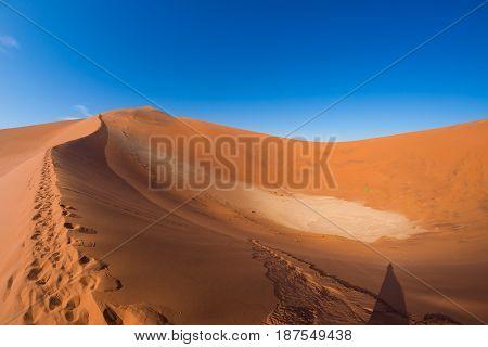 Scenic Ridges Of Sand Dunes In Sossusvlei, Namib Naukluft National Park, Best Tourist And Travel Att