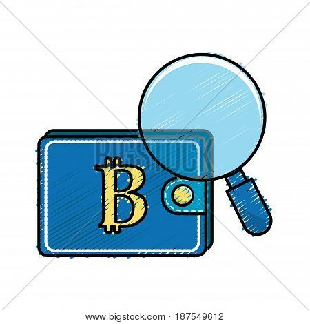 bitcoin symbon in the wallet with magnifying glass, vector illustration
