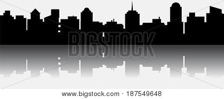 Black vector city silhouette with reflection. Vector Illustration of architectural buildings