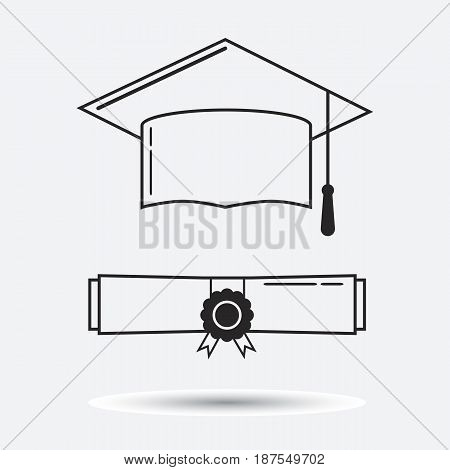 Graduation hat and graduation certificate linear icon. Graduation celebration cap pictogram for web and applications. Vector element