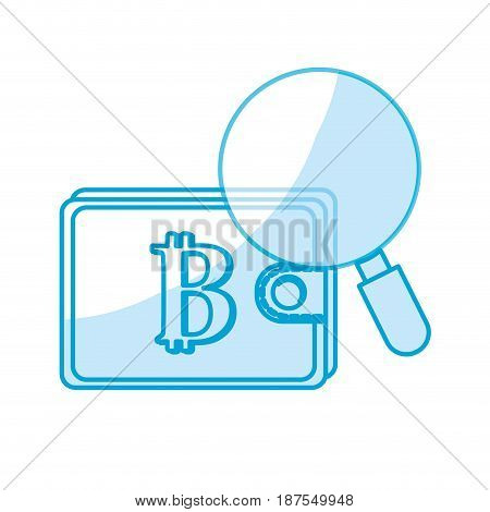 silhouette bitcoin symbon in the wallet with magnifying glass, vector illustration
