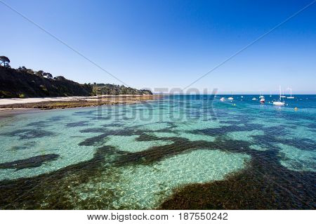 Flinders back beach on a hot summer's afternoon in the Mornington Peninsula, Victoria, Australia