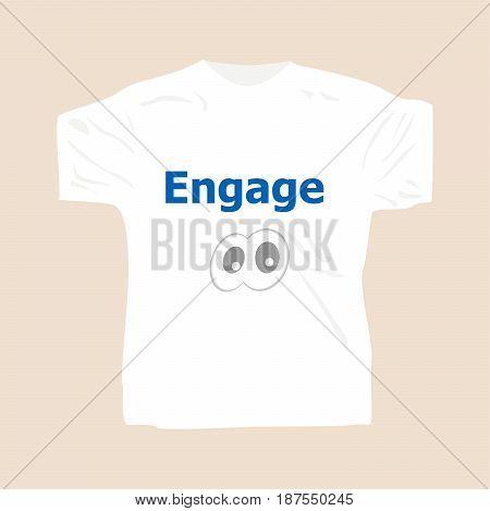 Engage . Man Wearing White Blank T-shirt