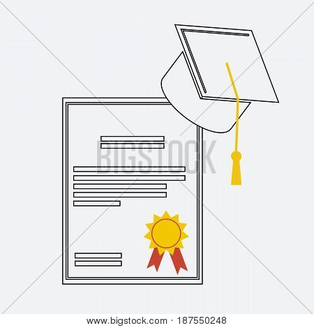 Graduation hat and diploma scroll linear icon. Graduation celebration cap pictogram for web and applications. Vector element