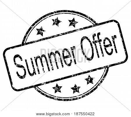 black summer offer rubber stamp - illustration