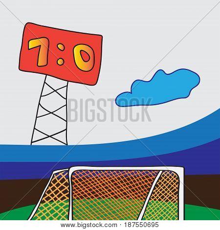 Soccer goal at football stadium with scoreboard.