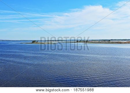 View of the river and small islands on a summer morning.