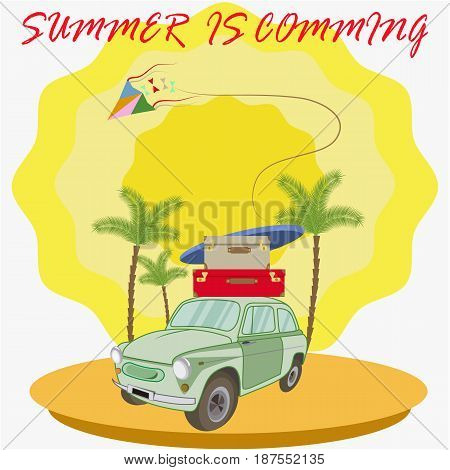 Concept of summer travel on a retro car.