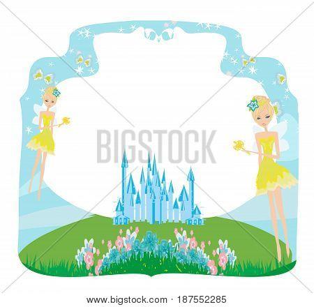 Fairytale frame with little fairies , vector illustration