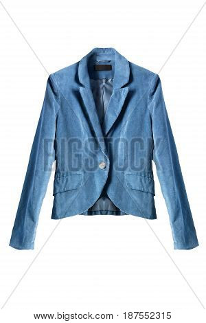 Blue velvet jacket isolated over white background